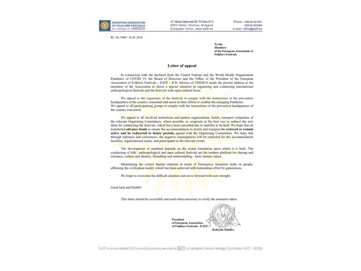 Letter Of Appeal Eaff European Association Of Folklore Festivals
